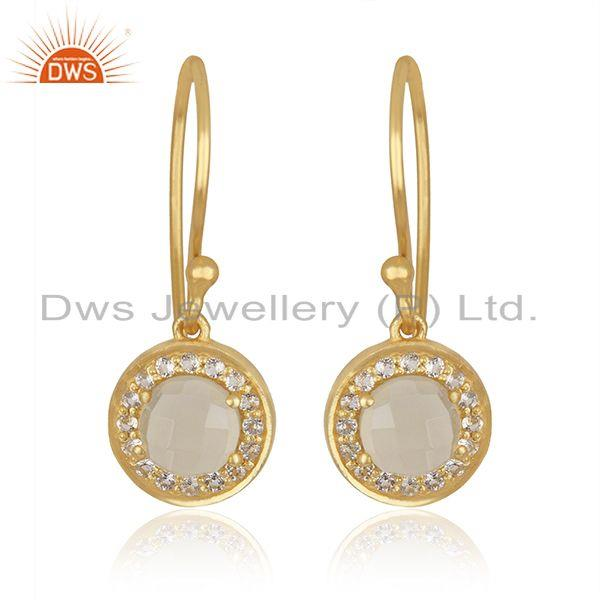 White and Lemon Topaz Gemstone 18k Gold Plated Silver Earrings Jewelry