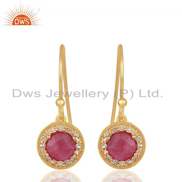 Multi Gemstone Gold Plated 925 Sterling Silver Drop Earrings Jewelry