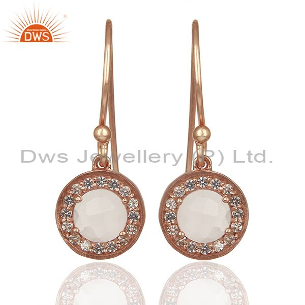 Round Crystal and Topaz Gemstone Rose Gold Silver Drop Earring Jewelry