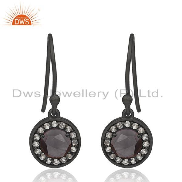 92.5 Silver Smoky And Zircon Gemstone Black Drop Earrings Manufacturer India