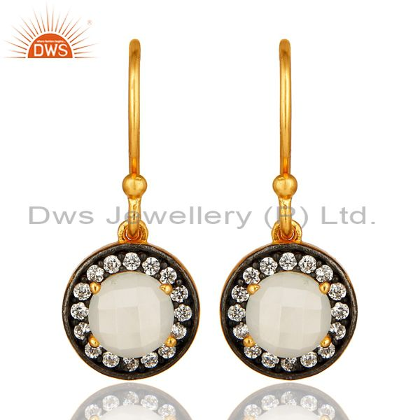 18K Gold Plated Sterling Silver White Moonstone Earrings With Cubic Zirconia