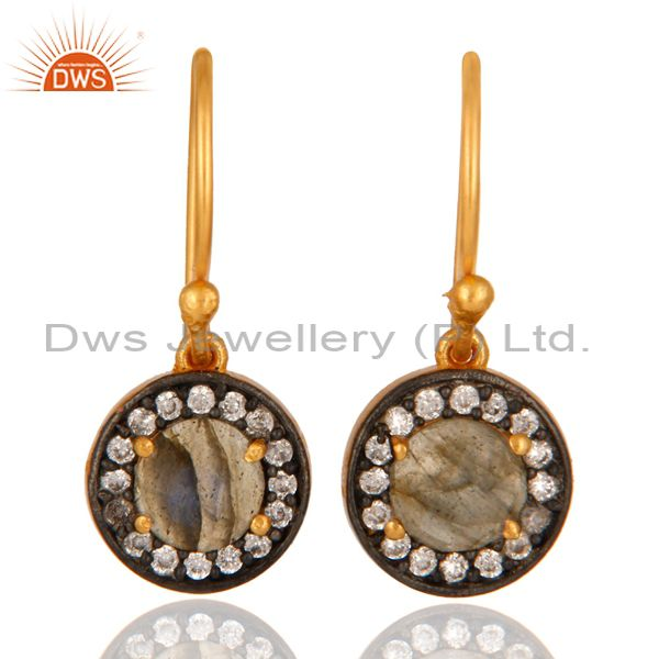 925 Sterling Silver Labradorite Gemstone & White Zircon Earring With Gold Plated