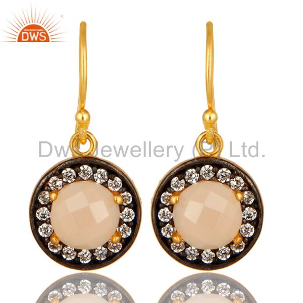 Rose Chalcedony Gemstone And CZ Sterling Silver Dangle Earrings With Gold Plated