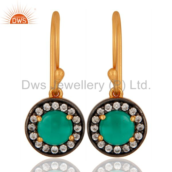 18-Karat Gold Plated 925 Sterling Silver Green Onyx Gemstone Earring With Zircon