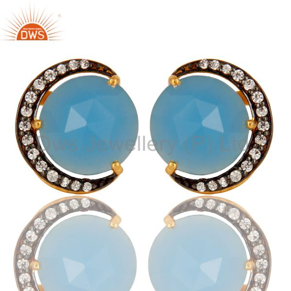 18K Gold Plated Sterling Silver Aqua Blue Chalcedony Stud Earrings With CZ
