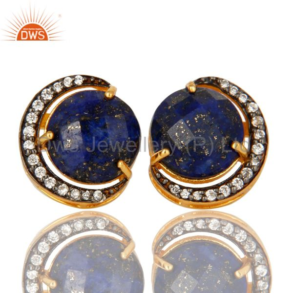 18K Gold Plated Sterling Silver Lapis Lazuli Half Moon Stud Earrings With CZ