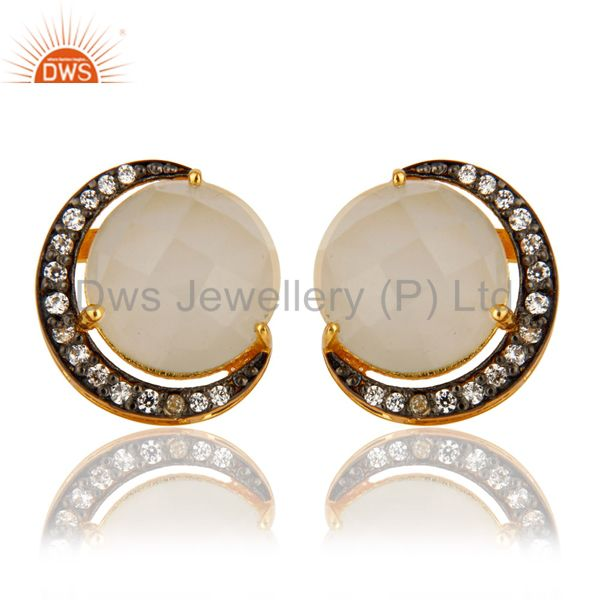 18K Gold Plated Sterling Silver White Moonstone Half Moon Stud Earrings With CZ