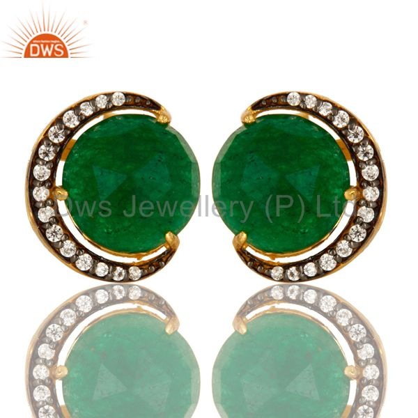 Green Aventurine And CZ Half Moon Stud Earrings In 18K Gold Over Sterling Silver
