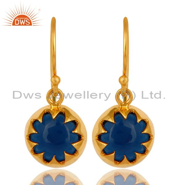 Stunning 18K Gold Plated Sterling Silver Sapphire Blue Corundum Earrings