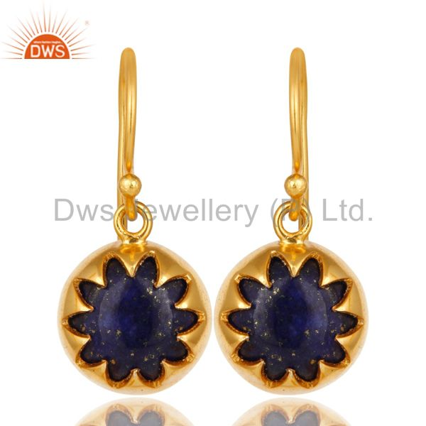 14K Yellow Gold Plated Sterling Silver Lapis Lazuli Designer Dangle Earrings