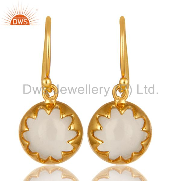 14K Yellow Gold Plated Sterling Silver White Moonstone Designer Drop Earrings