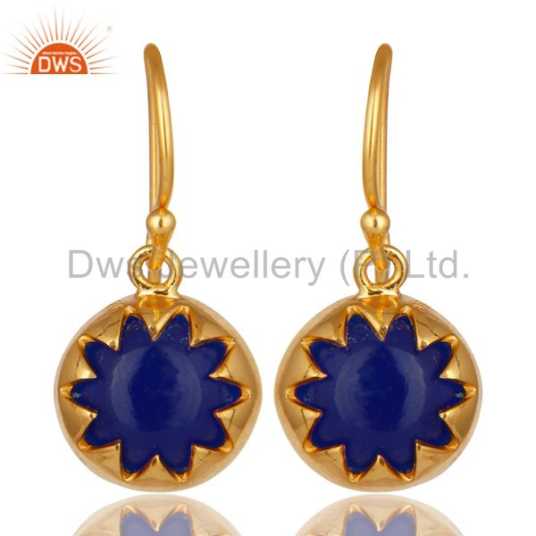 14K Yellow Gold Plated Sterling Silver Blue Aventurine Gemstone Drop Earrings