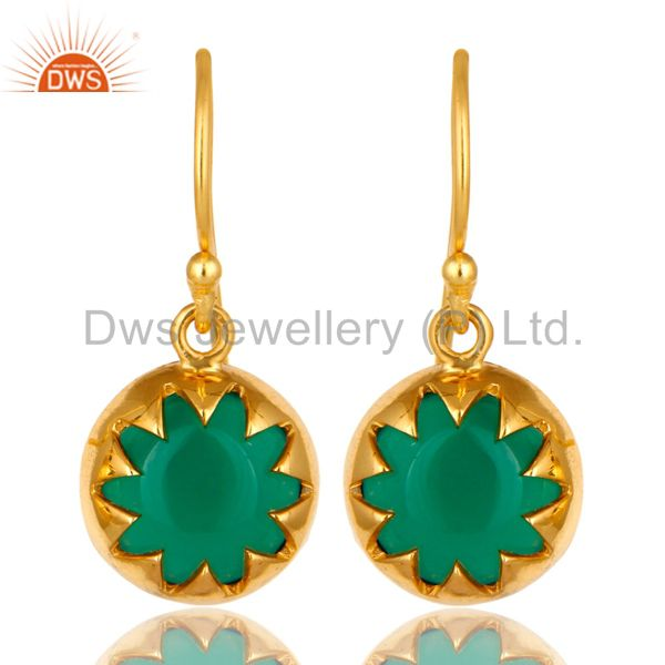 18K Yellow Gold Plated Sterling Silver Green Onyx Gemstone Drop Earrings