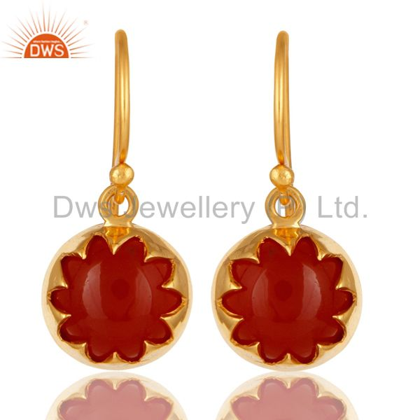 14K Yellow Gold Plated Sterling Silver Natural Red Onyx Gemstone Drop Earrings