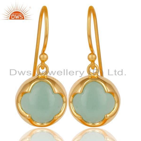 14K Yellow Gold Plated Sterling Silver Dyed Chalcedony Gemstone Drop Earrings