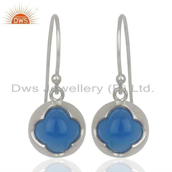 Blue Chalcedony Dangle 925 Sterling Silver Earrings Gemstone Jewelry