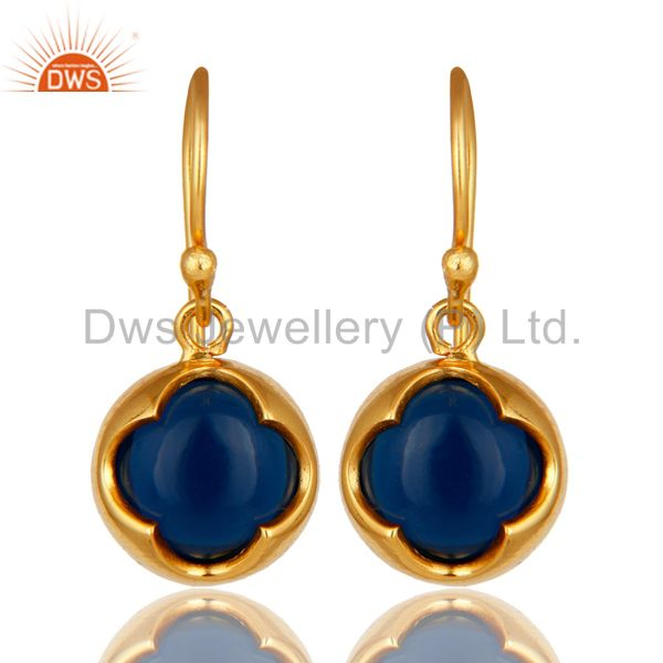 14K Yellow Gold Plated Sterling Silver Blue Sapphire Corundum Earrings