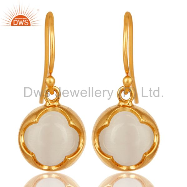 White Moonstone Sterling Silver Dangle Earrings - Yellow Gold Plated