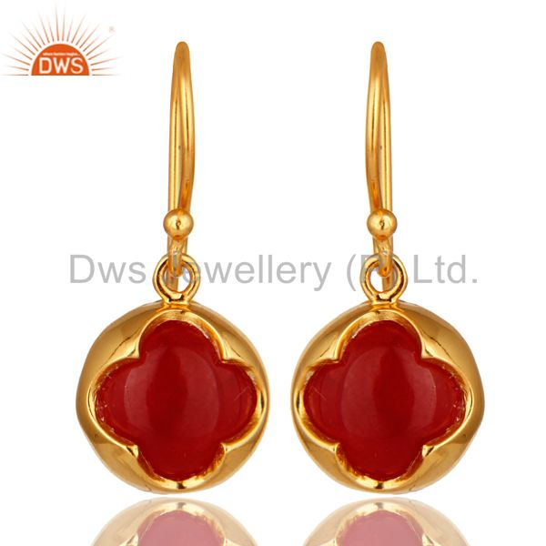 Designer 18K Yellow Gold Plated Sterling Silver Red Aventurine Dangle Earrings