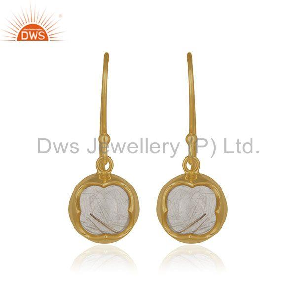 Golden Rutile Gemstone Handmade 14k Gold Plated 925 Silver Drop Earring Supplier