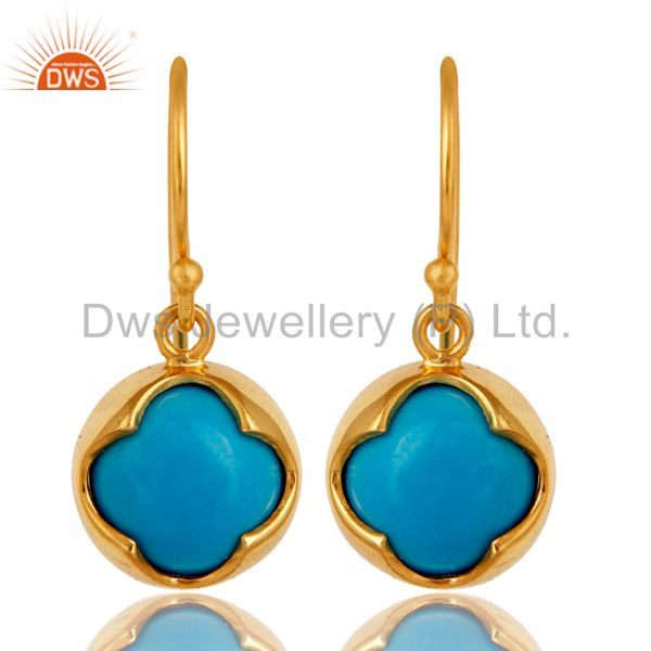 18K Yellow Gold Plated Sterling Silver Turquoise Gemstone Dangle Earrings