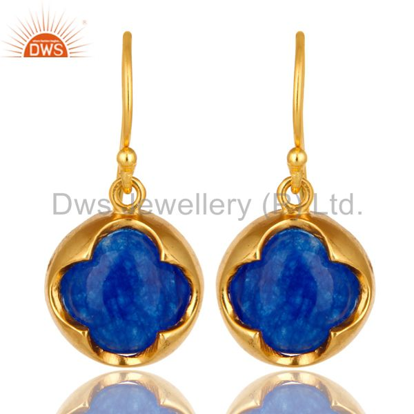 18K Yellow Gold Plated Sterling Silver Blue Corundum Dangle Hook Earrings