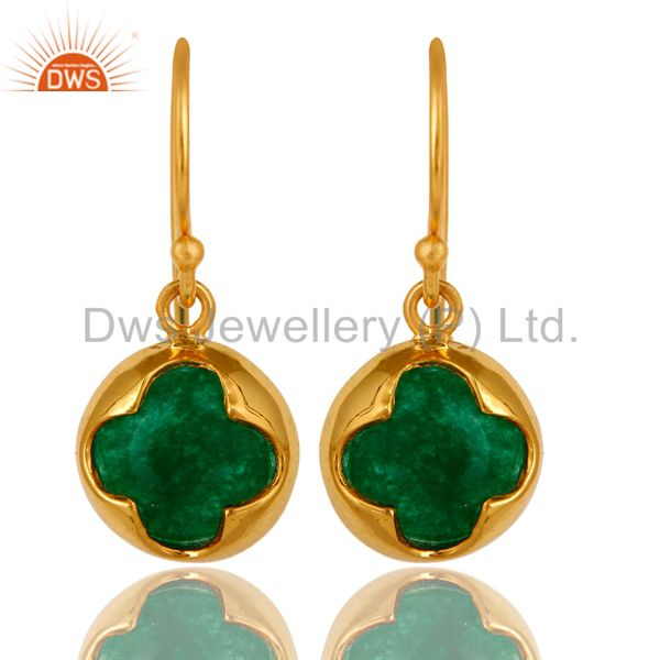 18K Yellow Gold Plated Sterling Silver Green Aventurine Gemstone Earrings