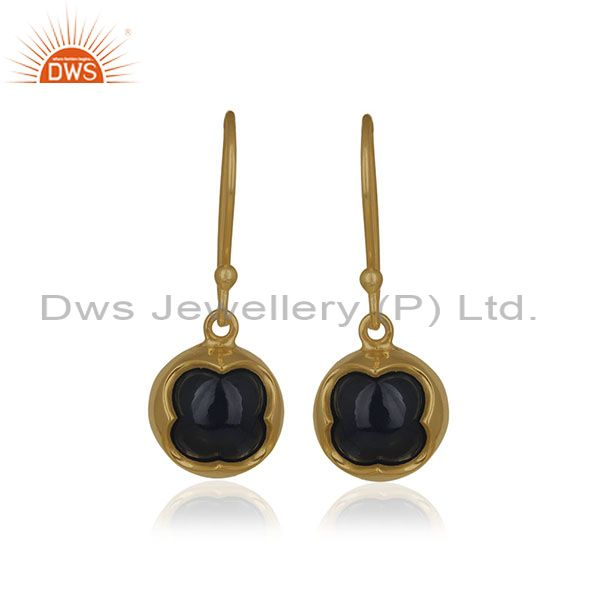 Black Onyx Gemstone 14k Gold Plated Sterling 92.5 Silver Drop Earrings Supplier