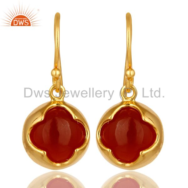14K Yellow Gold Plated Sterling Silver Red Onyx Gemstone Designer Earrings