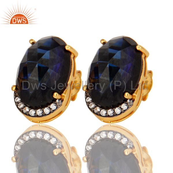 Sapphire Blue Corundum And CZ Stud Earrings In 18K Gold Over Sterling Silver