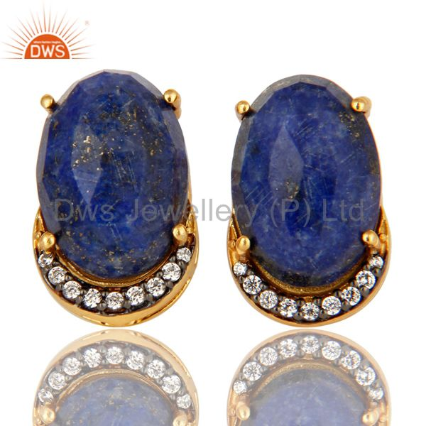 Natural Lapis Lazuli Gemstone And CZ Sterling Silver Stud Earrings - Gold Plated