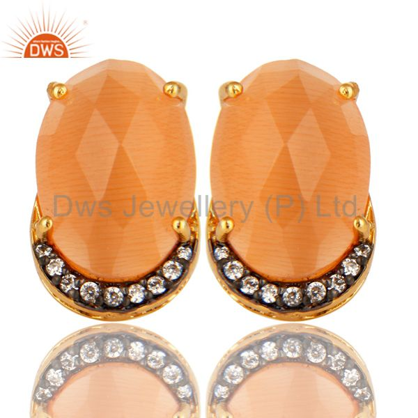 18K Gold Plated Sterling Silver Peach Moonstone And CZ Stud Earrings