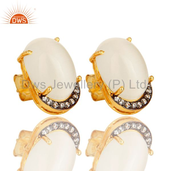 925 Sterling Silver White Moonstone And CZ Stud Earrings With Gold Plated