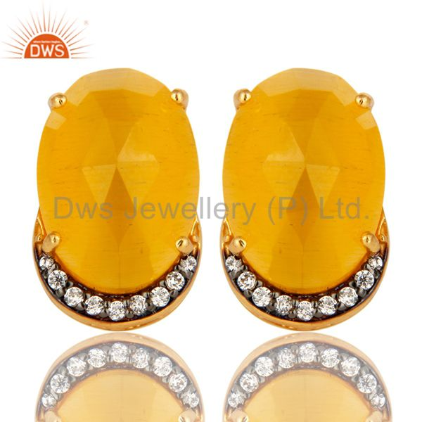 Yellow Moonstone Gemstone And CZ Sterling Silver Stud Earrings With Gold Plated