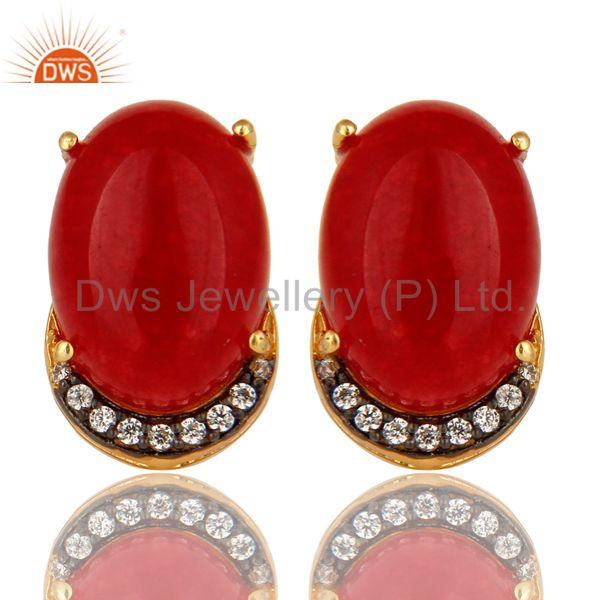 18K Gold Plated Sterling Silver Red Aventurine Gemstone Stud Earrings With CZ