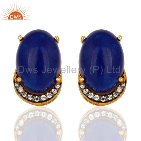 14K Yellow Gold Plated Sterling Silver Blue Aventurine Womens Stud Earrings With