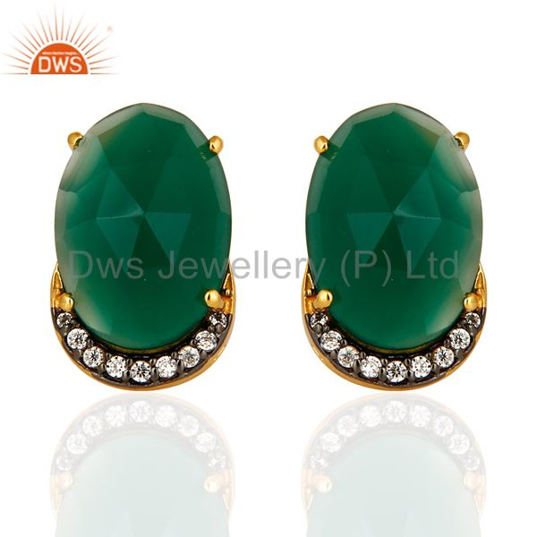 14K Yellow Gold Plated Sterling Silver Natural Green Onyx Stud Earrings With CZ