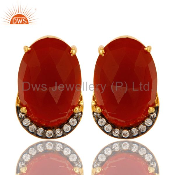 18K Gold Plated Sterling Silver CZ And Red Onyx Stud Earrings