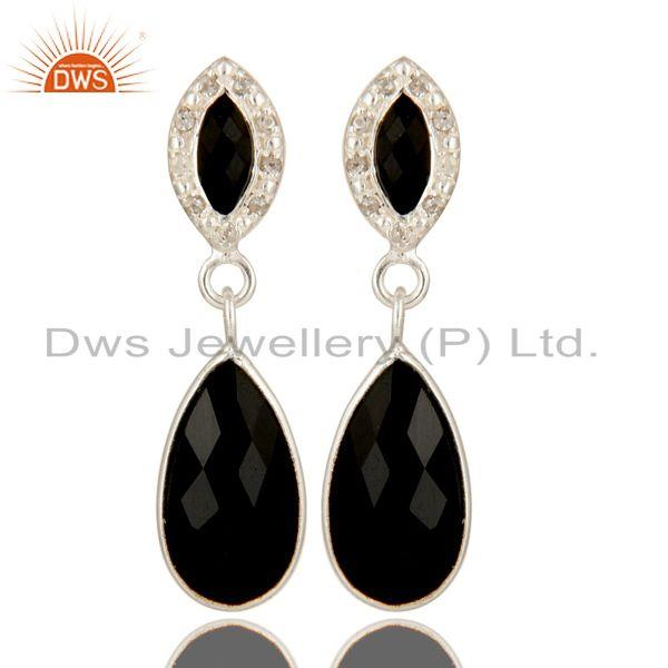 925 Sterling Silver Black Onyx Gemstone Dangle Earrings With White Topaz