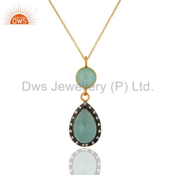 Blue aqua glass gemstone 18k gold plated 925 sterling silver pendant with chain
