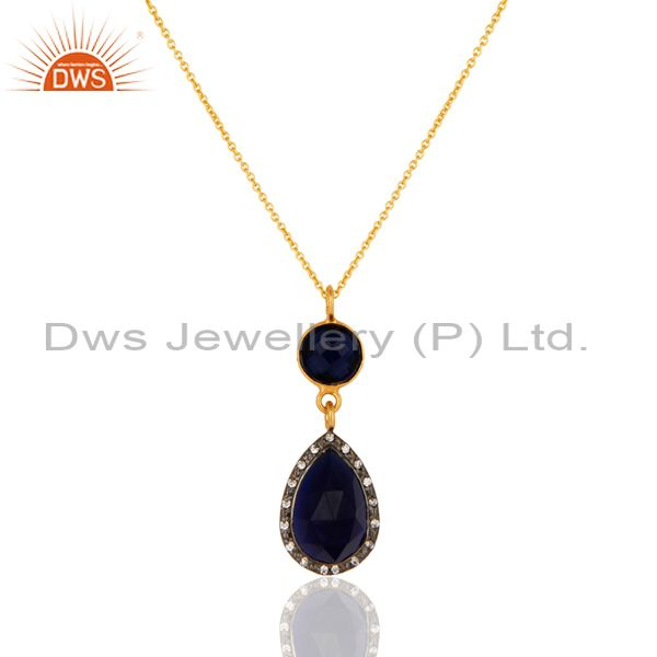 "Blue Corundum And CZ Gold Plated Sterling Silver Pendant With 16"" Chain"