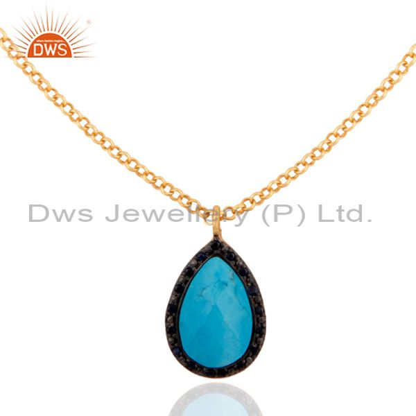 New Sterling Silver 18k Gold Blue Sapphire & Turquoise Pearshape Necklace