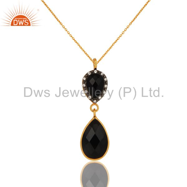 925 Sterling Silver Natural Black Onyx Pendant Necklace - Yellow Gold Plated