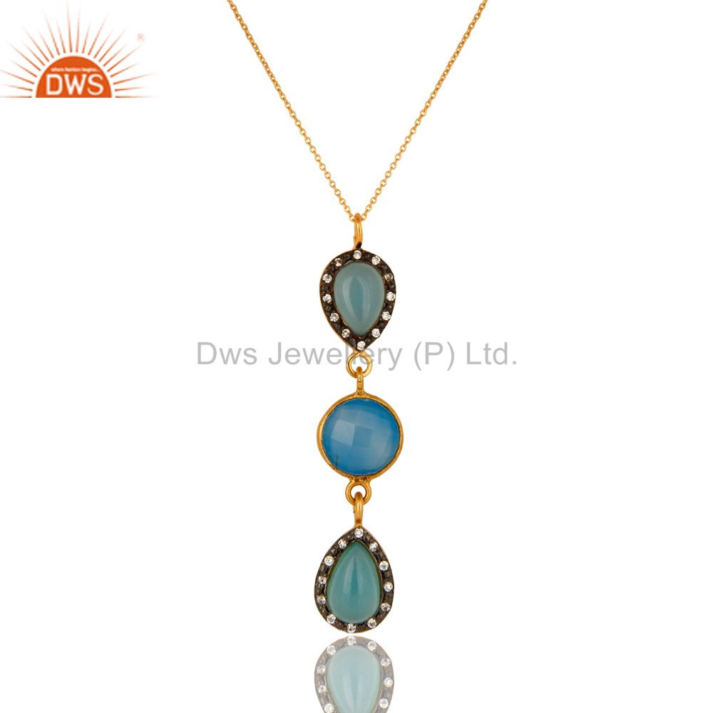 14K Yellow Gold Plated Sterling Silver CZ And Blue Chalcedony Pendant With Chain