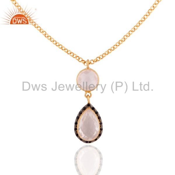 18K Gold Plated Sterling Silver Rose Quartz Gemstone & Sapphire Pendant Necklace