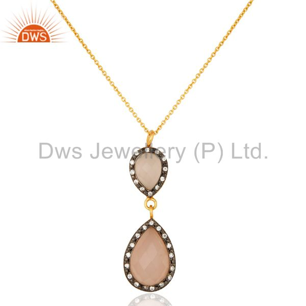 18k gold plated sterling silver rose chalcedony pendant necklace