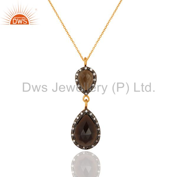 Natural Smoky Quartz Drop 18K Gold Plated 925 Sterling Silver Pendant Necklace