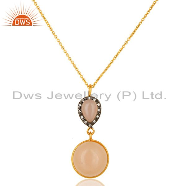 18K Yellow Gold Plated Sterling Silver Rose Chalcedony Drop Pendant With Chain