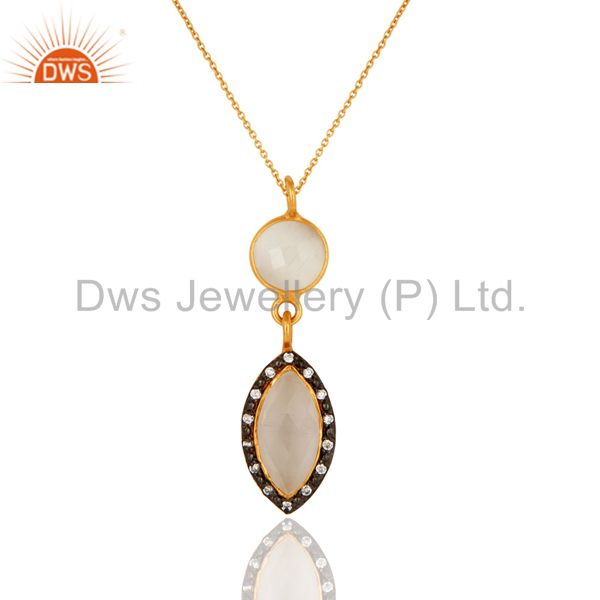 White moonstone gemstone drop pendant with cz in 18k gold on sterling silver
