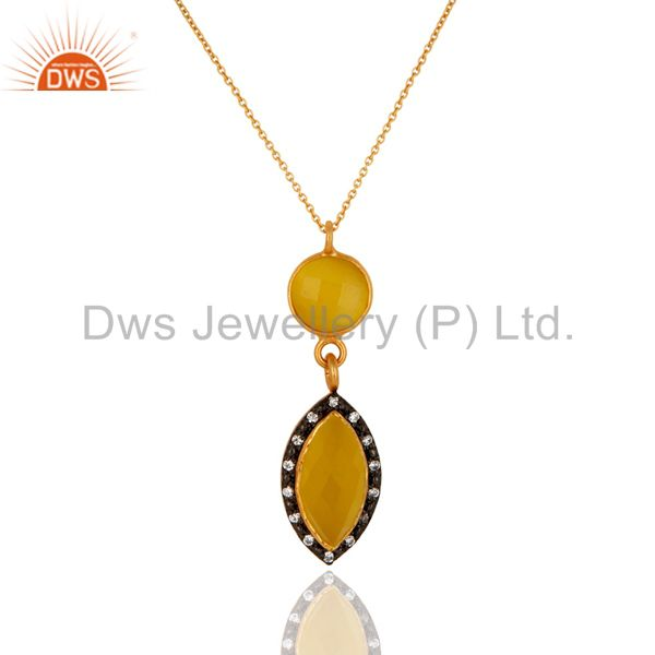 18k gold plated 925 sterling silver yellow moonstone & cz designer pendant chain